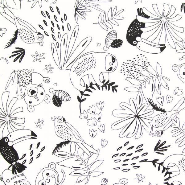 Tissu Coton A Colorier Animaux Jungle