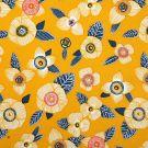 Tissu sergé de coton jaune à fleurs
