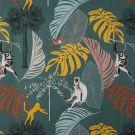 Tissu coton épais vert singes et palmes