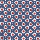 Tissu sergé bleu fleurs rouge