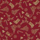 Tissu coton rouge cerfs dorés