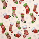 Tissu coton écru chaussettes de Noël