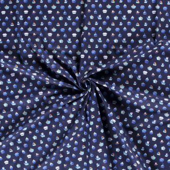 Tissu popeline coton bleu bateaux