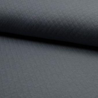Tissu jersey matelassé coton gris foncé