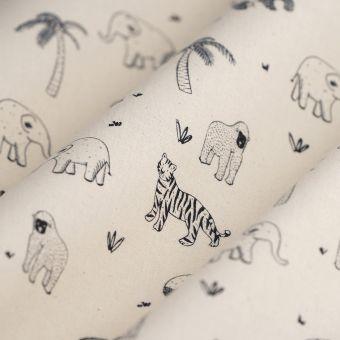 Tissu coton bio jungle écru