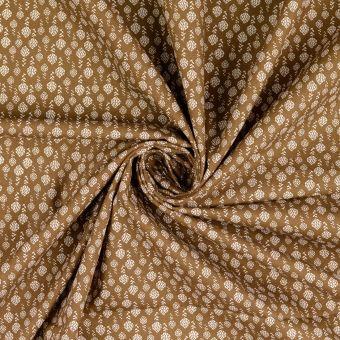 Tissu popeline de coton marron à motifs hortensias