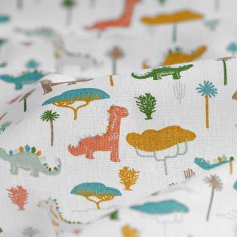 Tissu coton Jurassic dinosaures