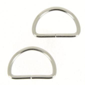 Boucles demi-anneaux argentées 32 mm