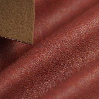 Tissu suédine feuille or rouge