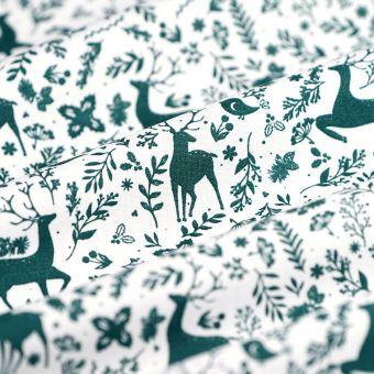 Tissu de Noël popeline de coton cerf vert