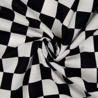 Tissu coton carreaux blanc noir