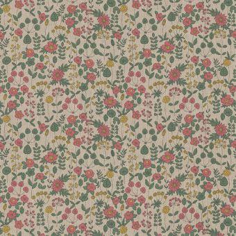 Tissu bachette effet lin motifs fleuris