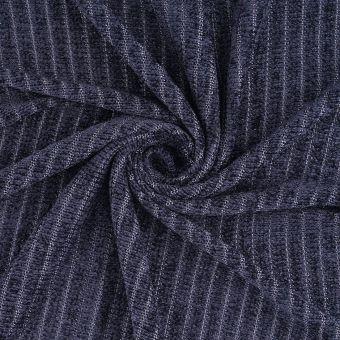 Tissu velours maille rayé bleu marine