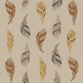 Tissu bachette effet lin motifs plumes crayonnées