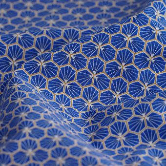 Tissu coton imprimé Riad hexagone bleu indigo