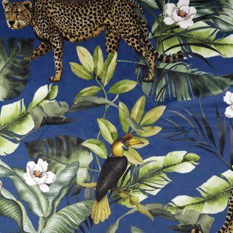 Tissu velours bleu imprimé léopard