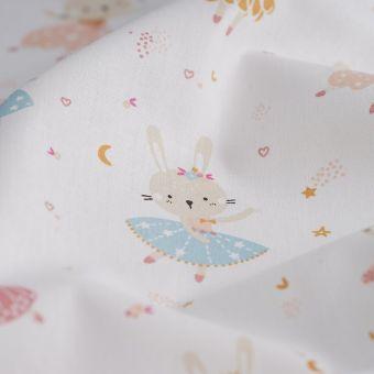 Tissu cretonne lapines danseuses