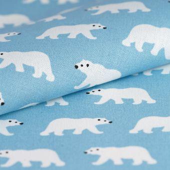 Tissu coton épais bleu ours polaire
