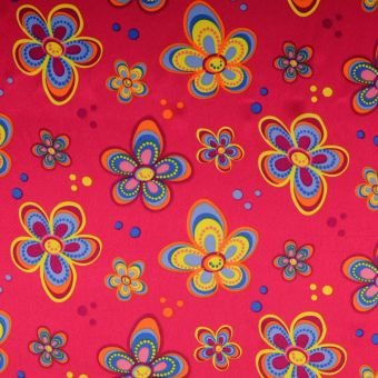 Tissu satin carnaval fleurs rose