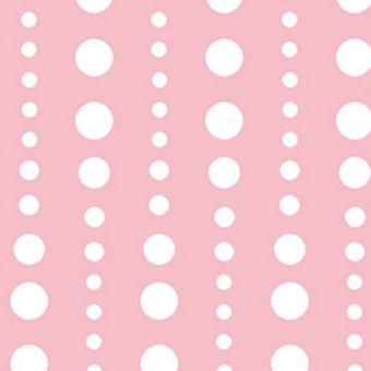 Tissu coton rose pois blanc