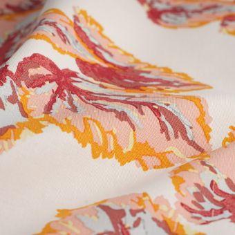Tissu coton épais feuillage luxuriant rose
