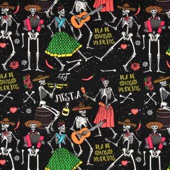 Tissu coton diables musique noir