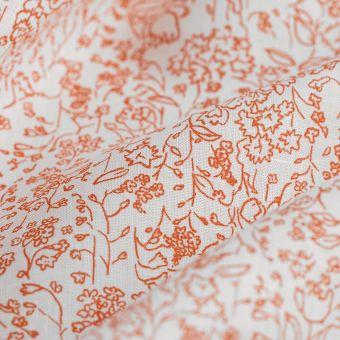 Tissu lin chemise feuillage terracota