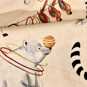 Tissu coton imprimé bachette Circus parade fond créme