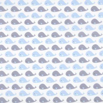 Tissu cretonne coton baleineau bleu