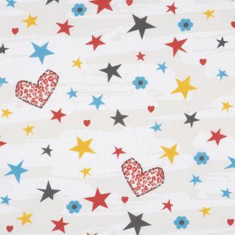 Tissu cretonne love heart