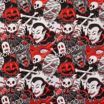 Tissu coton popeline vampires rouge