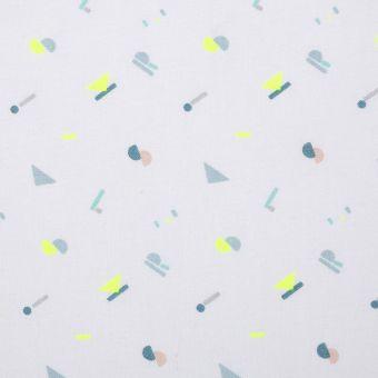 Tissu coton alphabet bleu et jaune fluo
