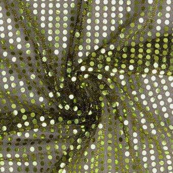 Tissu à sequins brillants doré vert