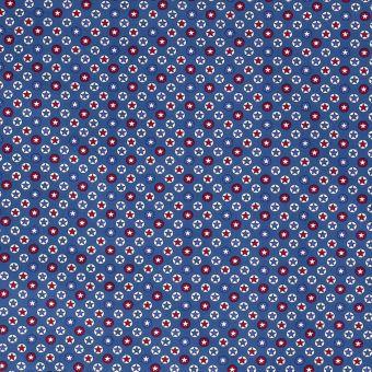 Tissu popeline coton étoiles ronds bleus