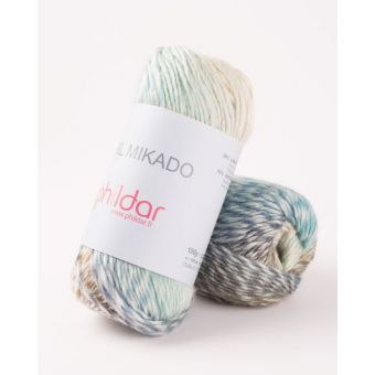 Fil à tricoter Mikado bleu clair et blanc