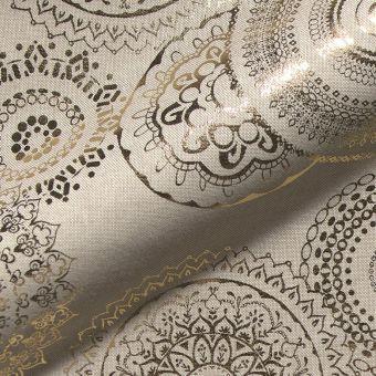 Tissu coton épais Mandala doré fond lin