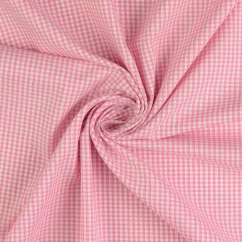 Tissu coton Vichy petits carreaux rose
