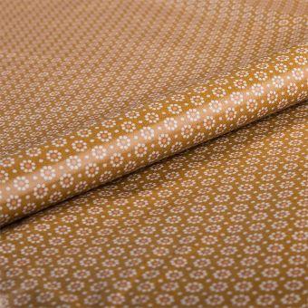 Tissu nappe enduite petites fleurs moutarde - AU Maison