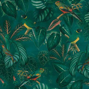 Tissu velours imprimé tropical feuilles calathea et oiseaux