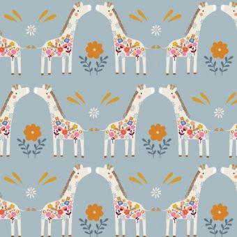 Tissu en velours côtelé Dashwood motifs girafes bleu
