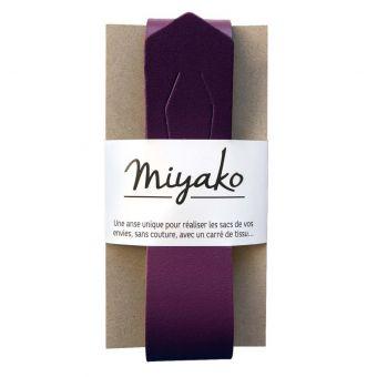 Anse amovible en cuir Miyako pour création de sac prune