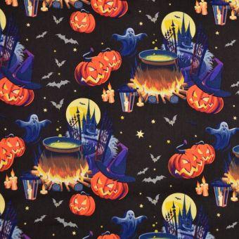 Tissu coton Halloween danse fantômes et citrouilles multicolore