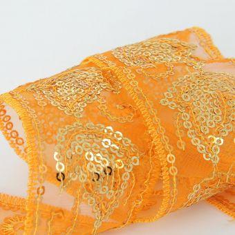 Ruban mesh à feuilles en paillettes orange 45 mm