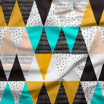Tissu oxford pour chemise imperméable recyclé triangles - La Panda Love Fabrics