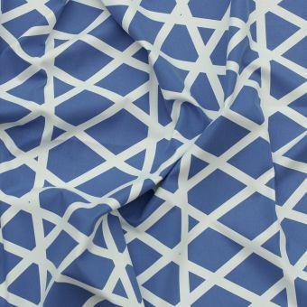 Tissu coton épais losanges bleu