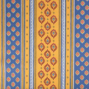 Tissu coton provençal sormiou rayure bleu et jaune