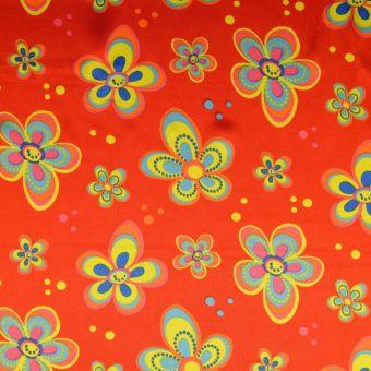 Tissu satin carnaval fleurs rouge