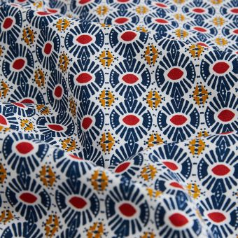 Tissu Percale bio etnik marine