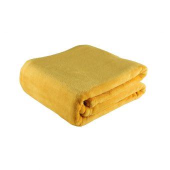 Plaid flanelle 125x150 jaune moutarde