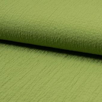 Tissu stretch gaufré vert pomme polyester viscose